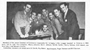 Members of the Junior Chamber of Commerce responsible for bringing Little League baseball to Victoria in 1953